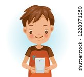 little boy use cell phone.... | Shutterstock .eps vector #1228371250