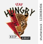 stay hungry slogan with leopard ... | Shutterstock .eps vector #1228383406