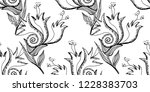 flower doodles seamless pattern.... | Shutterstock .eps vector #1228383703