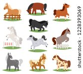 cartoon horse vector cute... | Shutterstock .eps vector #1228393069