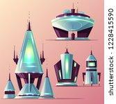 set of various alien spaceships ... | Shutterstock .eps vector #1228415590