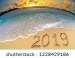 new year 2019 beach celebrate | Shutterstock . vector #1228429186