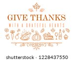 thanksgiving line icon set.... | Shutterstock .eps vector #1228437550