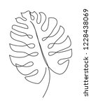 monstera leaf line art. contour ... | Shutterstock .eps vector #1228438069