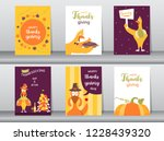 set of happy thanksgiving day... | Shutterstock .eps vector #1228439320