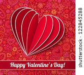 red heart from paper valentines ... | Shutterstock .eps vector #122845288