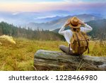 woman traveler with backpack... | Shutterstock . vector #1228466980