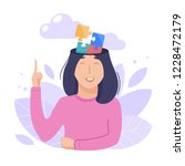 inside woman s head concept.... | Shutterstock .eps vector #1228472179