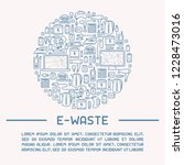 e waste ready template with old ... | Shutterstock .eps vector #1228473016