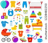 baby toys. baby shower elements.... | Shutterstock . vector #1228482253