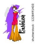 fashion girl sketch. stylish... | Shutterstock .eps vector #1228491403