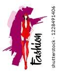 fashion girl sketch. stylish... | Shutterstock .eps vector #1228491406