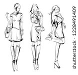 sketch. fashion girls on a... | Shutterstock .eps vector #1228491409