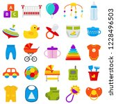 baby icons set. baby shower... | Shutterstock . vector #1228496503