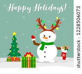new year and christmas card.... | Shutterstock .eps vector #1228506073