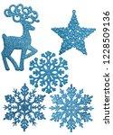 set of five cyan christmas... | Shutterstock . vector #1228509136