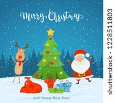 santa claus and cute deer with... | Shutterstock . vector #1228511803