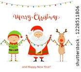 santa with little elf and cute... | Shutterstock . vector #1228511806