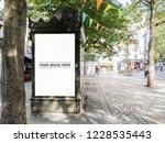 mockup of outdoor newspaper...   Shutterstock . vector #1228535443