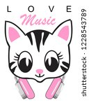 love music cat for t shirt...   Shutterstock .eps vector #1228543789