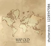 old continents map with vintage ... | Shutterstock .eps vector #1228547086