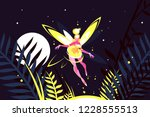 beautiful fairy flying in night ... | Shutterstock .eps vector #1228555513