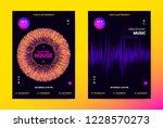 techno music poster. wave flyer ... | Shutterstock .eps vector #1228570273