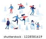people having winter activities ... | Shutterstock .eps vector #1228581619