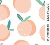 doodle peach vector seamless... | Shutterstock .eps vector #1228591279
