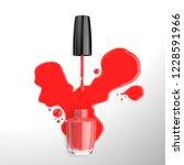 red liquid nail polish splash... | Shutterstock . vector #1228591966