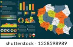 detailed poland map with... | Shutterstock .eps vector #1228598989