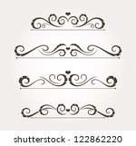 set of four calligraphic floral ... | Shutterstock .eps vector #122862220