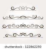 set of four calligraphic floral ... | Shutterstock .eps vector #122862250
