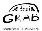 grab taxi lettering in hand... | Shutterstock .eps vector #1228650676