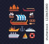 sea crafts pixel art icons set. ... | Shutterstock .eps vector #1228652800