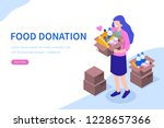 volunteer with food donation.... | Shutterstock .eps vector #1228657366
