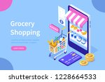 grocery shopping concept.can... | Shutterstock .eps vector #1228664533