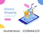 grocery shopping online concept.... | Shutterstock .eps vector #1228666123