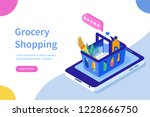 grocery shopping online concept.... | Shutterstock .eps vector #1228666750