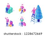 santa claus with christmas tree ... | Shutterstock .eps vector #1228672669