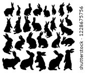 Stock vector rabbit set isolated on white background bunny silhouette 1228675756