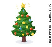 cartoon christmas tree isolated ... | Shutterstock .eps vector #1228676740