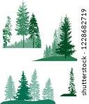 illustration with fir trees set ... | Shutterstock .eps vector #1228682719