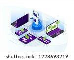chatbot isometric vector... | Shutterstock .eps vector #1228693219