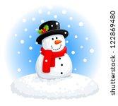 christmas snowman | Shutterstock .eps vector #122869480