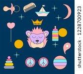 sleeping hedgehog.face isolated ... | Shutterstock .eps vector #1228700923
