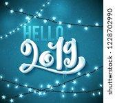 hello happy new year 2019... | Shutterstock .eps vector #1228702990