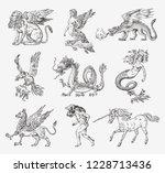 set of mythological animals.... | Shutterstock .eps vector #1228713436