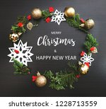 merry christmas and happy new... | Shutterstock . vector #1228713559