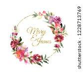 hand drawn watercolor bouquet... | Shutterstock . vector #1228713769